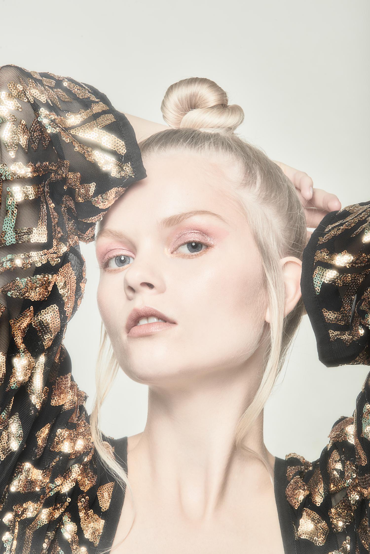 """fashion girl studioshot in glitter dress"""