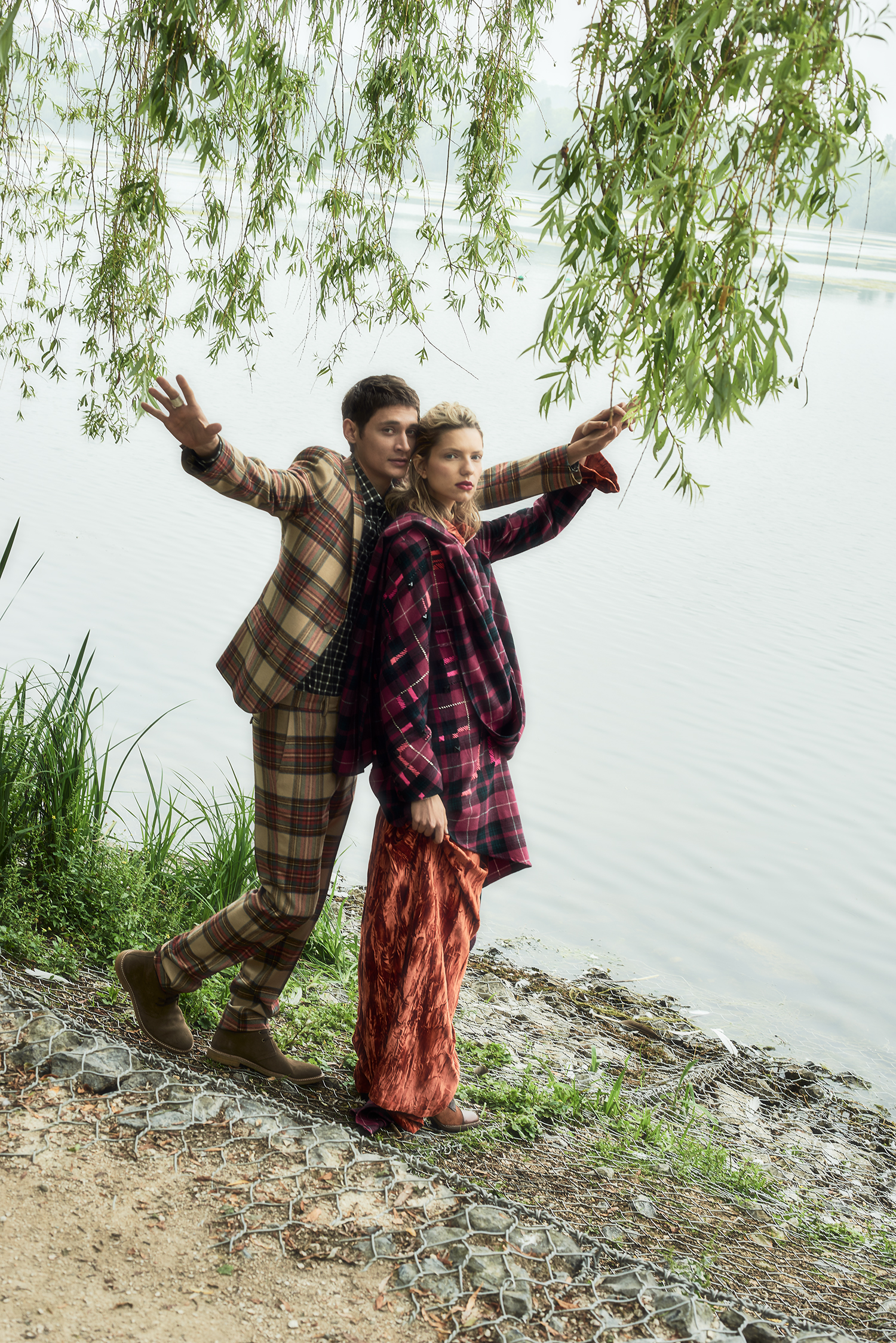 """couple in tartan outfit at lake"""