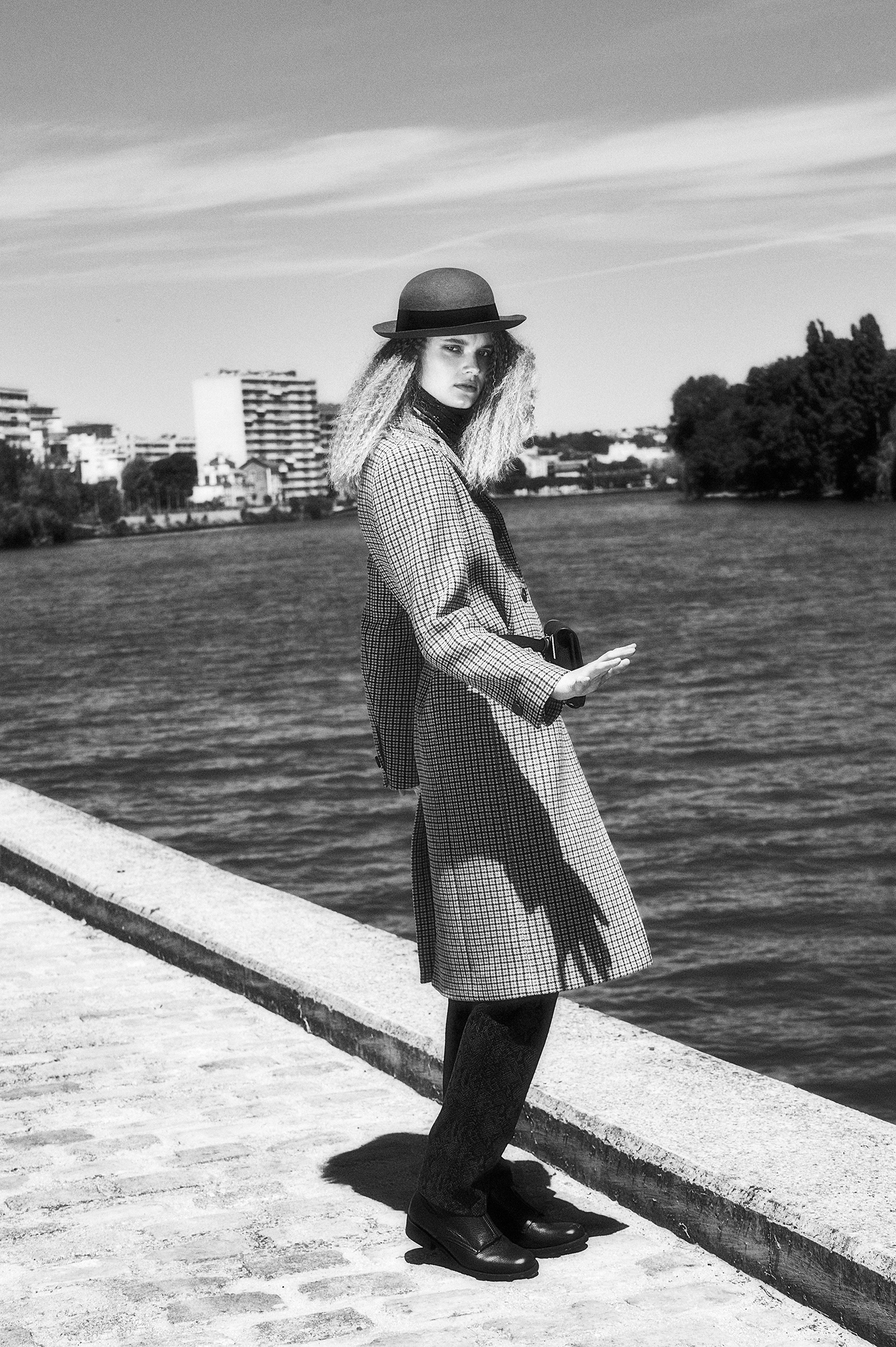 """black and white fashion near the river"""