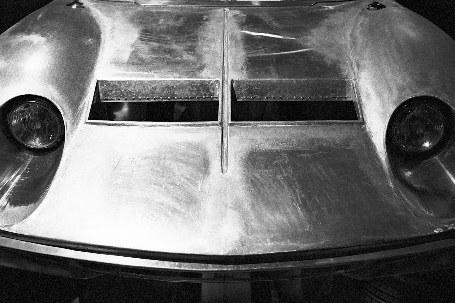 """Aluminum replica of the original bodywork of Jota Lamborghini Museo Nazionale dell'Automobile di Torino"""