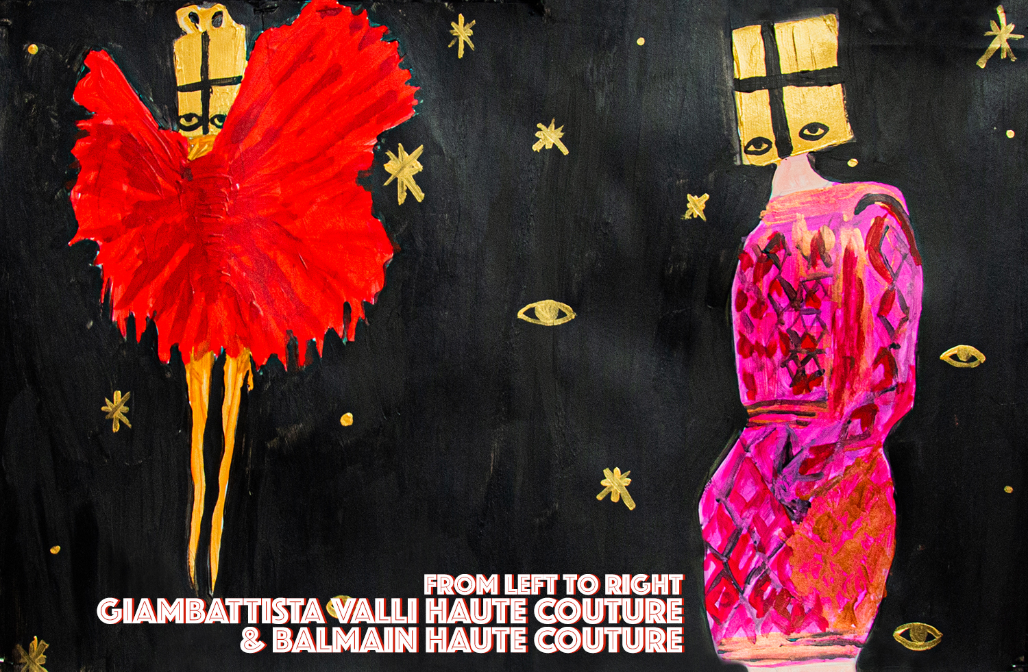 """High Fashion Haute Couture illustrated editorial"""