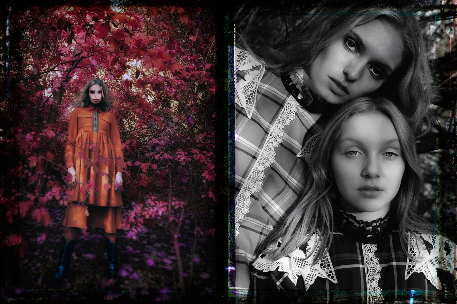 """Girls in nature fashion editorial"""